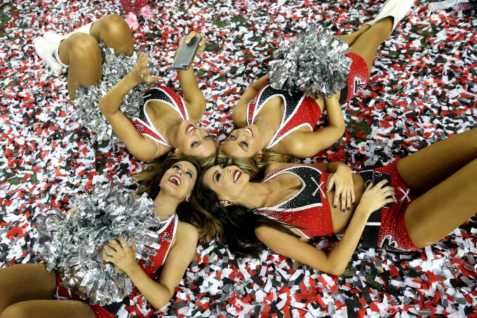 Atlanta Falcons cheerleaders celebrate making it to the Super Bowl LI - How to watch Super Bowl LI 2017 streamed live on your Android, iPhone or iPad