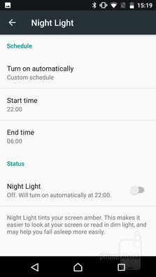 Night Light in Sony's Android concept is a blue light filter that can activate automatically after sunset. - A look at Sony's Concept for Android: features, differences, and advantages