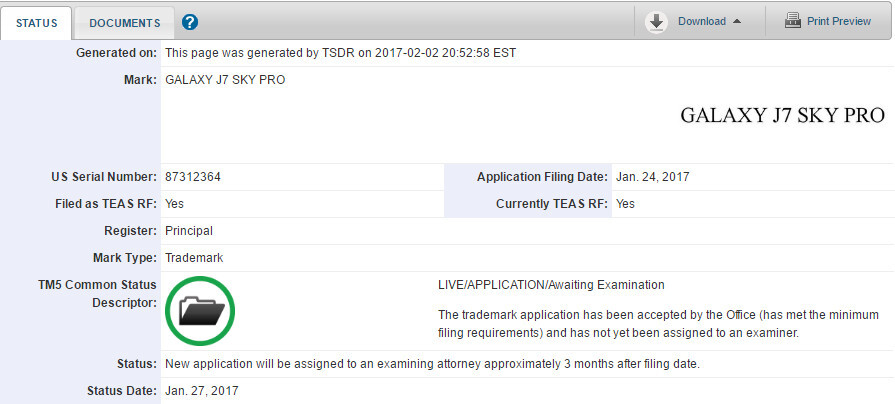 Samsung Galaxy J7 Sky Pro name trademarked in the US