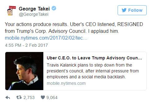 Celebrities applaud Travis Kalanick for quitting his ties to Trump's economic advisory council - Uber CEO Kalanick quits Trump's advisory panel