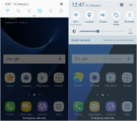 Galaxy S7 w/ Nougat (left), Galaxy S7 w/ Marshmallow (right)