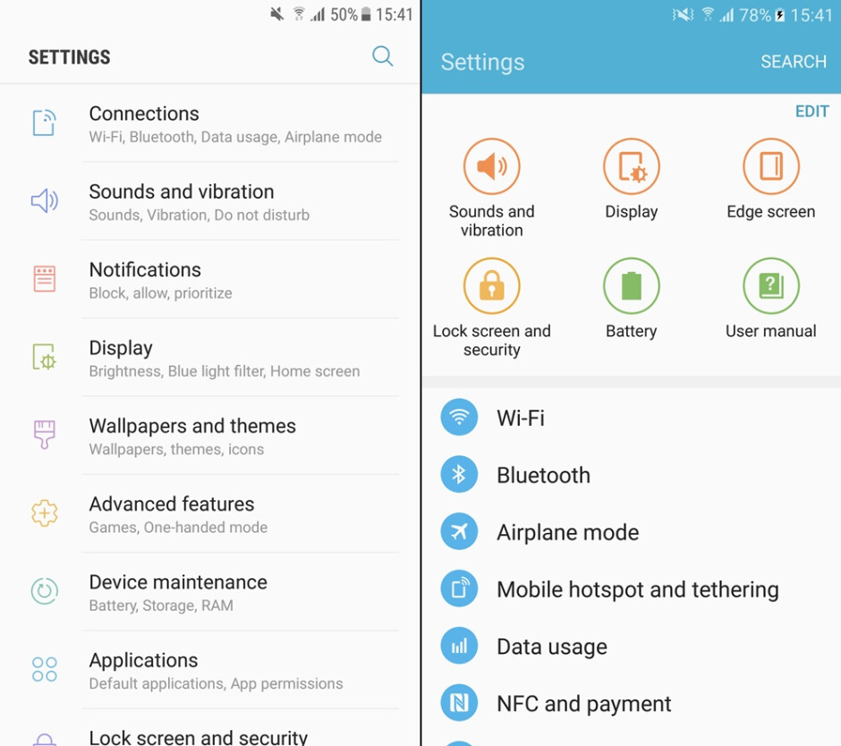 Galaxy S7 w/ Nougat (left), Galaxy S7 w/ Marshmallow (right) - Samsung Galaxy S7 before and after the Android Nougat update: here's what's changed