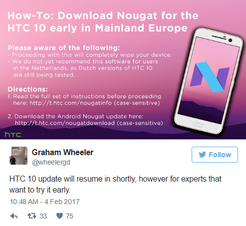Follow these directions to flash Android 7.0 on your HTC 10