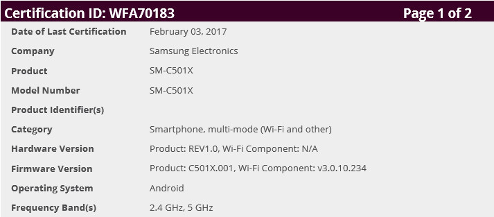 Samsung Galaxy C5 Pro Wi-Fi certification - Samsung Galaxy C5 Pro could be launched globally