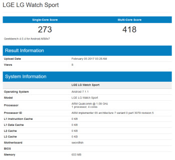 LG Watch Sport surfaces on Geekbench