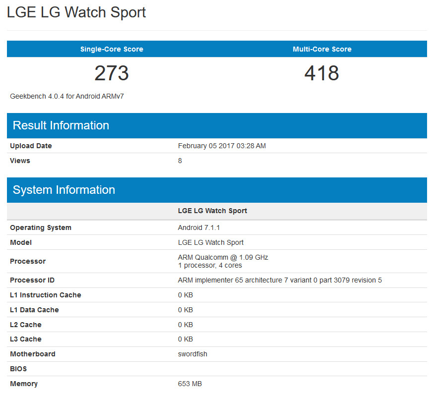 LG Watch Sport surfaces on Geekbench - LG Watch Sport appears on Geekbench