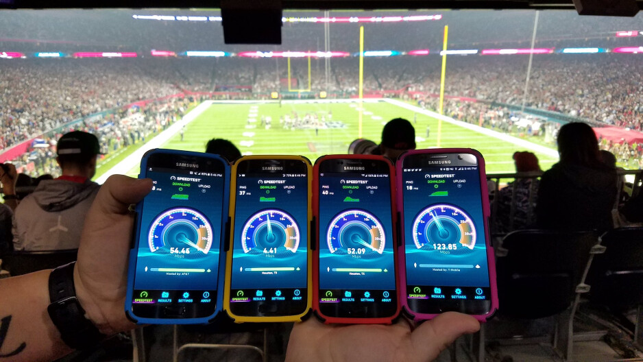 T-Mobile's CTO poses with AT&T, Sprint, Verizon and T-Mobile momentous Speedtest results at the Super Bowl - T-Mobile trolls Verizon, AT&T and Sprint again, hits highest LTE speeds at the Super Bowl LI