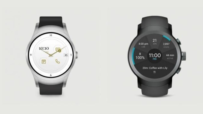 At left, the Verizon Wear24; at right is the LG Watch Sport - Verizon Wear24 is Big Red's own Android Wear 2.0 smartwatch with LTE connectivity