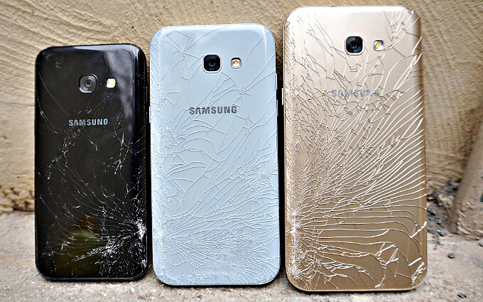 If you like it then you should've put a case on it - Galaxy A3, A5 and A7 (2017) after a five feet drop test - Glass back does crack: best Galaxy A5 (2017) cases and covers