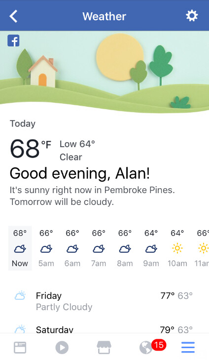 Facebook's mobile app now provides weather information - You can now check the Facebook app to see if you need to wear your rubbers