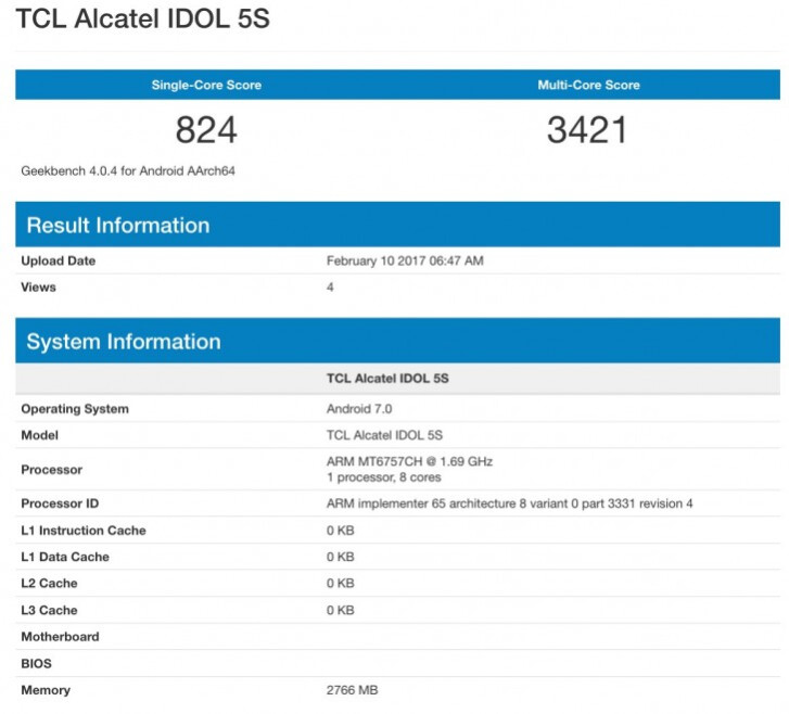 Alcatel Idol 5S spotted with Helio P20 processor and 3GB of RAM