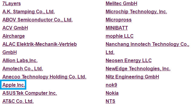 Apple's name now appears on the list of WPC members - Apple joins the Wireless Power Consortium