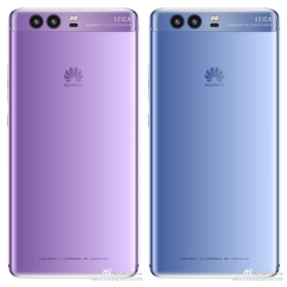 Left – earlier render of a Purple P10; right – rough approximation of a Blue colored P10, based on Huawei's official teaser - Huawei teases P10 colors: It isn't purple, it's blue