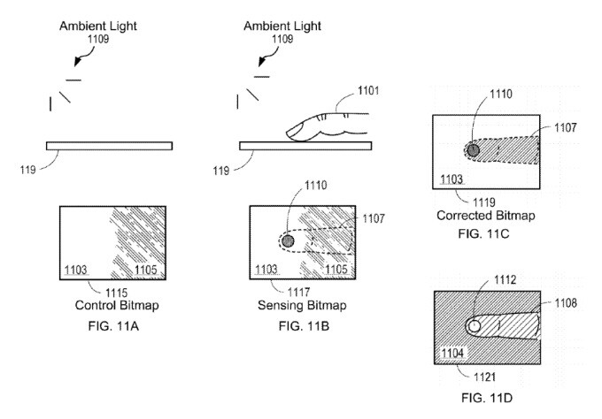 A patent drawing detailing how fingerprints could be detected with the new technology - A new Apple patent brings a major iPhone 8 rumor closer to reality
