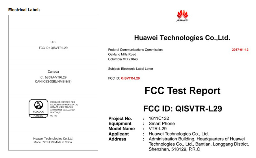 Huawei P10 receives FCC certification for the U.S. and Canada - Huawei P10 gets FCC clearance for North America; feds confirm 3100mAh battery is inside