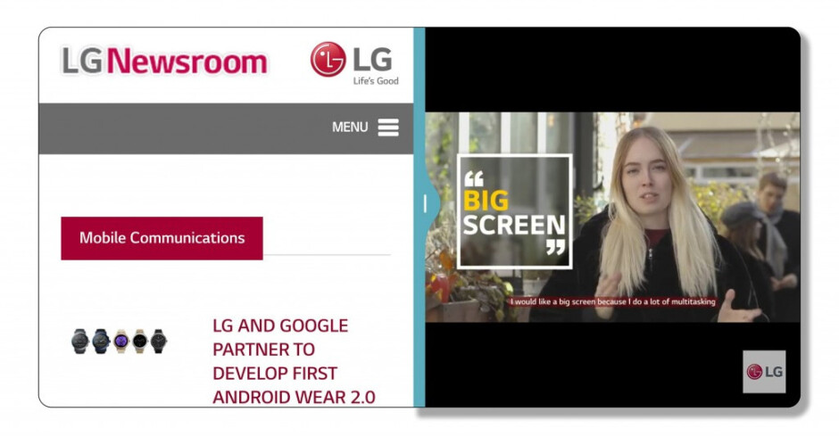 """What opening two apps in split-screen may look like on the G6 in landscape mode. We are on the fence as to whether the square format of the windows alone would improve multitasking by much - LG G6 """"FullVision"""" display explored and explained: what does the 9:18 aspect ratio entail?"""