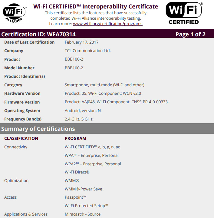 The BlackBerry Mercury receives its Wi-Fi certification from the Wi-Fi Alliance - BlackBerry Mercury receives its Wi-Fi certification