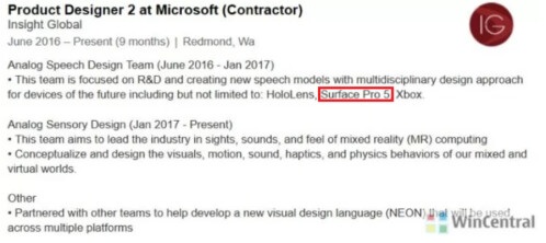 The tablet appears on a Microsoft employee's resume on LinkedIn