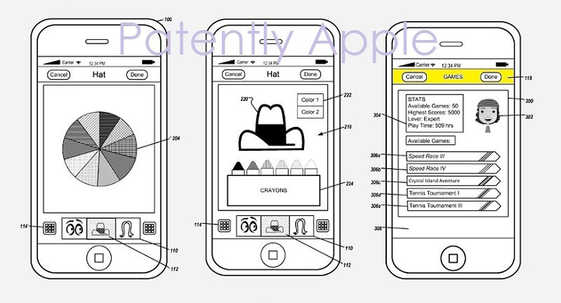 Example interfaces showing player stats and accessory customization screens - Apple secures patent for curious avatar creation tool