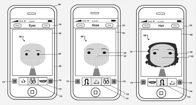 Example interface for an avatar creation tool - Apple secures patent for curious avatar creation tool