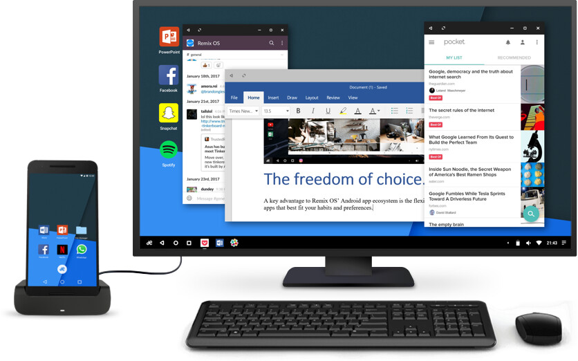 Remix OS on Mobile will allow you to have an Android smartphone that can also work like a PC