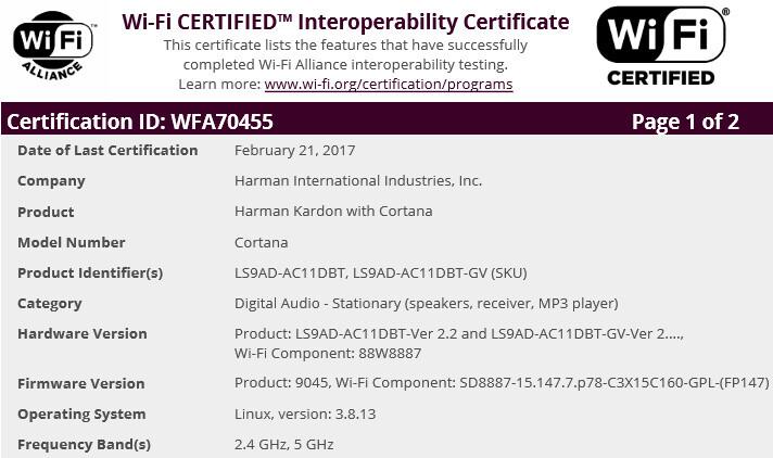 Harman Kardon with Cortana - Harman Kardon speaker powered by Microsoft's Cortana gets certified