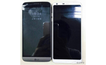 White LG G6 photographed next to an LG G5