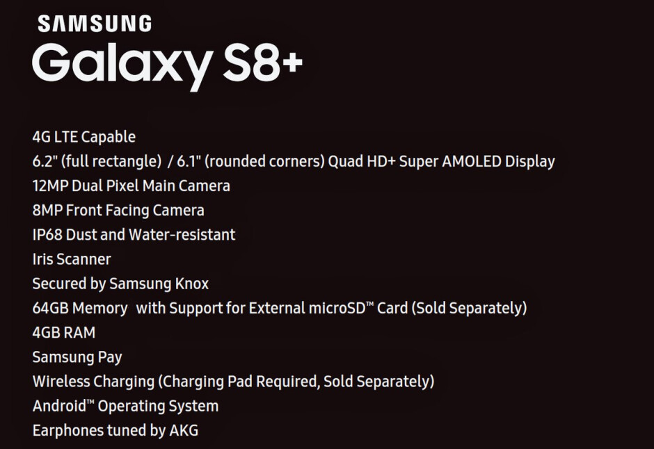 Specs sheet leaks for the Samsung Galaxy S8+ - Spec sheet for Samsung Galaxy S8+ leaks revealing almost everything you want to know