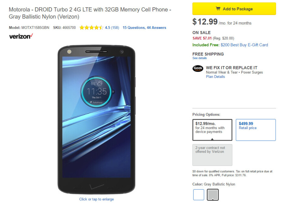 Deal: Best Buy sells the Motorola DROID Turbo 2 for only $312, buyers get $200 gift card too