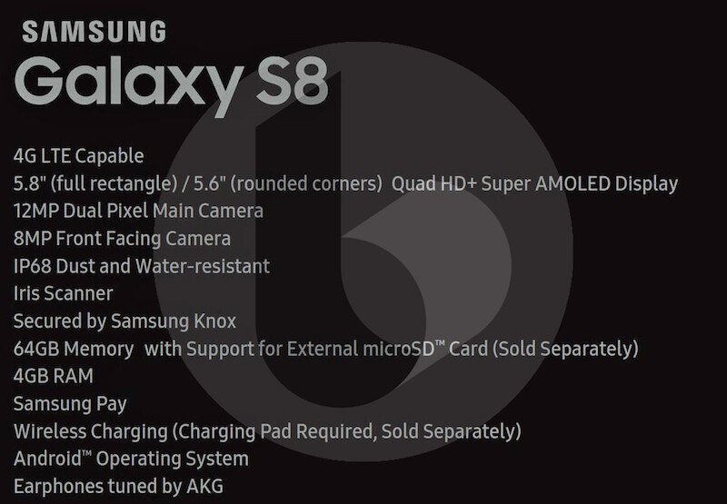 Leaked Samsung Galaxy S8 specs sheet reveals 4 GB of RAM, 64 GB of storage space
