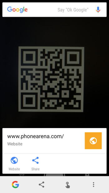 Scanning QR codes and regular barcodes using Now on Tap