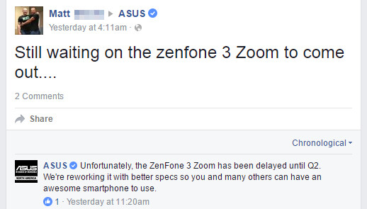 Asus delays the ZenFone 3 Zoom until Q2, will improve its specs for the US