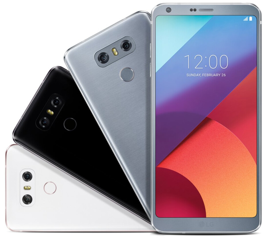 Here's the LG G6 in white, platinum, and black