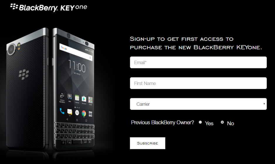 Register with BlackBerry in the U.S. or Canada for access to the KEYone - BlackBerry KEYone registration page goes live in the U.S. and Canada