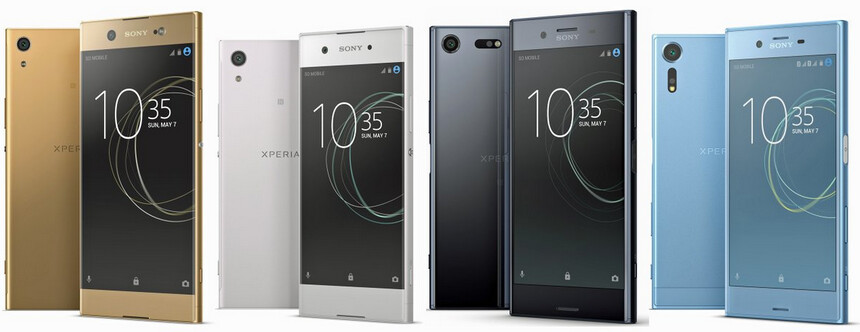 Renders showing four handsets that Sony will allegedly unveil at MWC on Monday - Renders of Sony's 2017 Xperia models leak just before tomorrow's unveiling