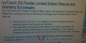 T-Mobile says no returns on myTouch 3G Fender Limited Edition
