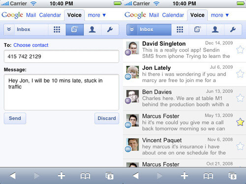 Google Voice now available as app in browser for iPhone, webOS