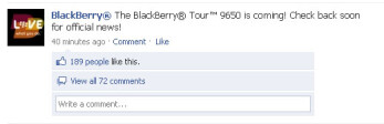 RIM teases about the BlackBerry Tour 9650 on Facebook