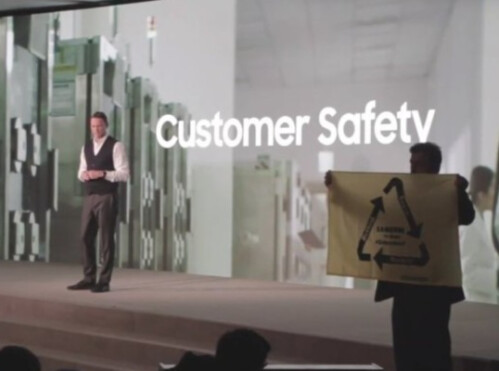 Protester from Greenpeace shares MWC stage with Samsung executive