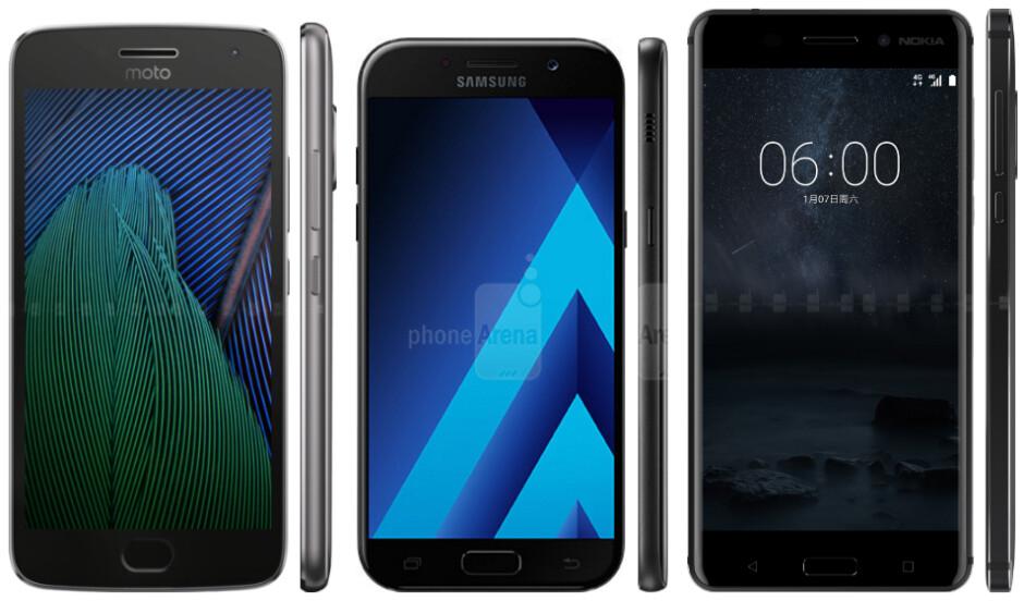 Moto G5 Plus vs Samsung Galaxy A5 (2017) vs Nokia 6: specs comparison