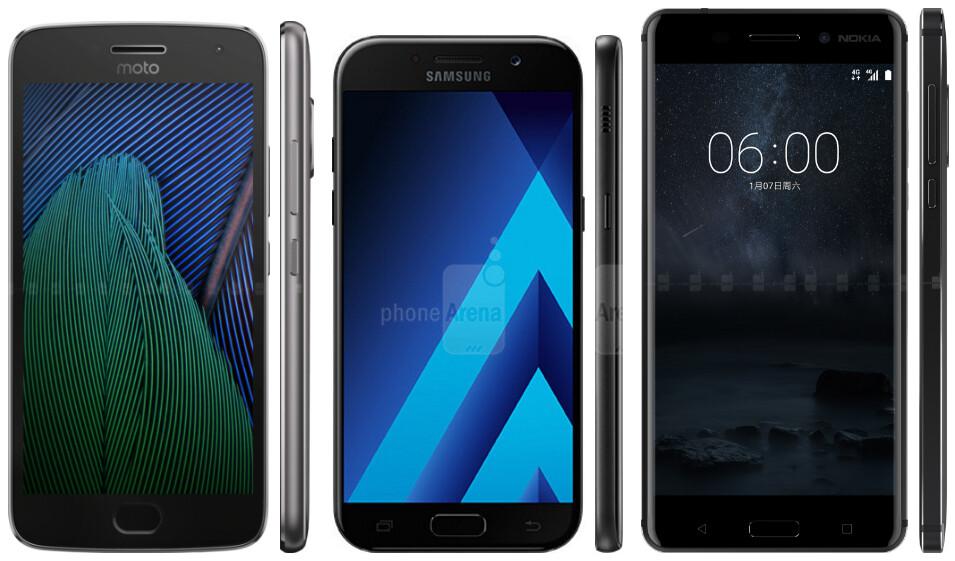 Moto G5 Plus vs Samsung Galaxy A5 (2017) vs Nokia 6: specs ...