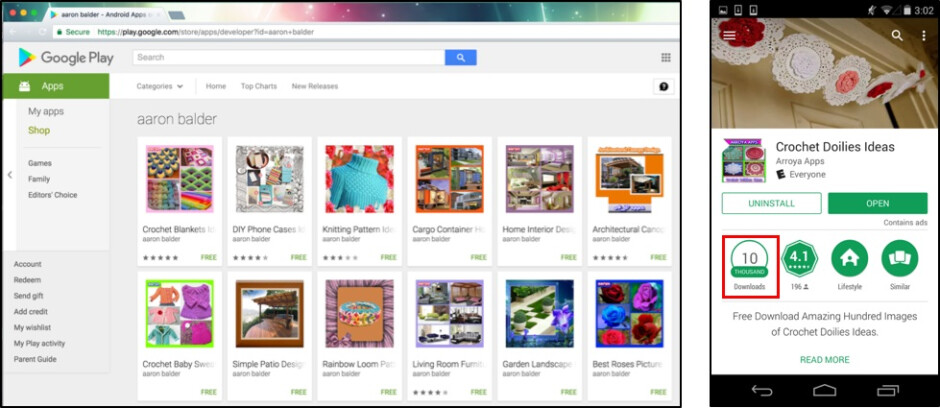The store page of one of the infected developers - More than 100 Play Store apps tried to infect Android devices with Windows malware