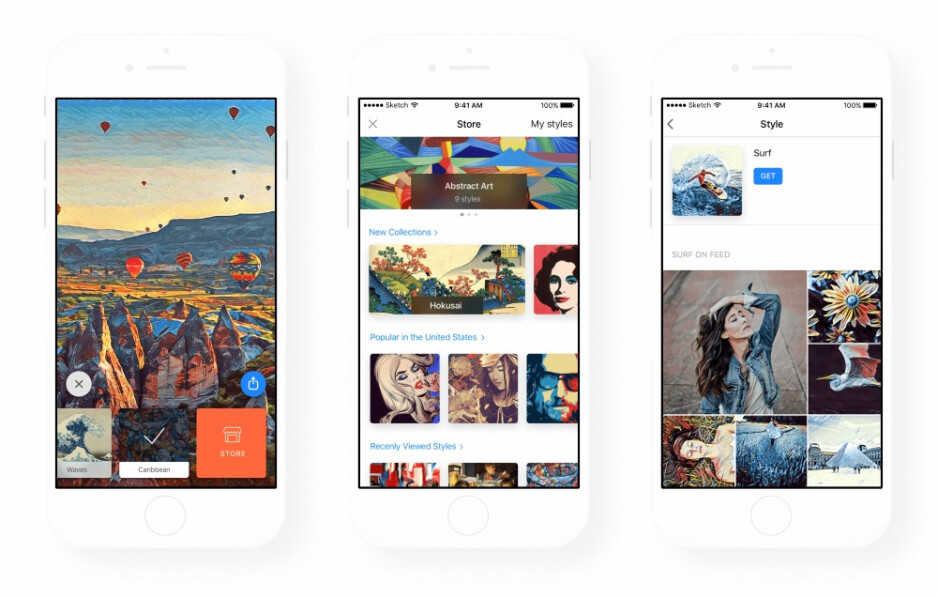 Prisma's new filter store, as seen in the iOS version - Prisma gets updated with a filter store, will soon let users create their own