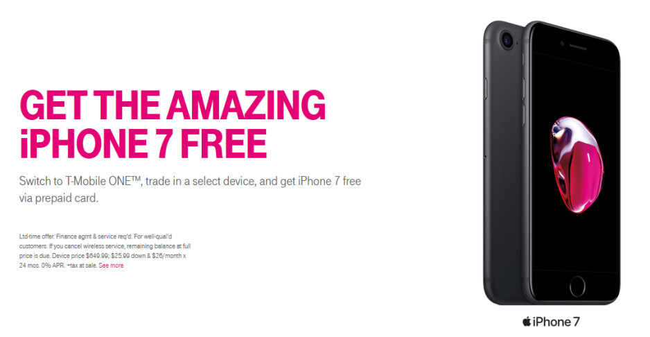 Get a free iPhone 7 or pay just $100 for the iPhone 7 Plus when you switch to T-Mobile - Bring your current number to T-Mobile and score a free Apple iPhone 7