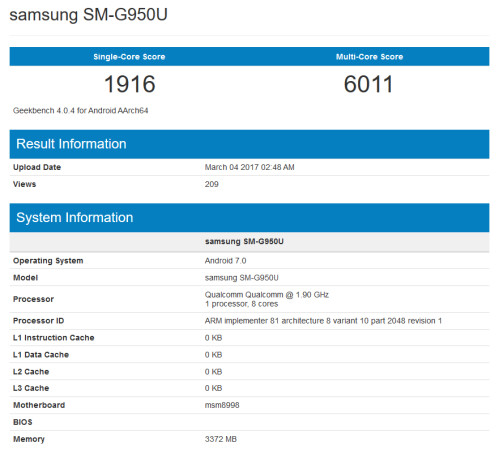 Geekbench benchmark test results of the Samsung Galaxy S8