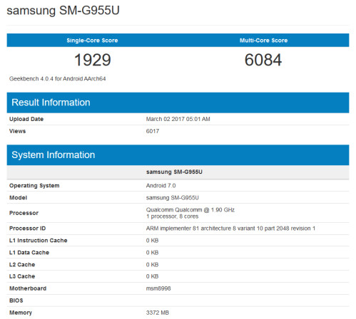 Geekbench benchmark test results of the Samsung Galaxy S8+