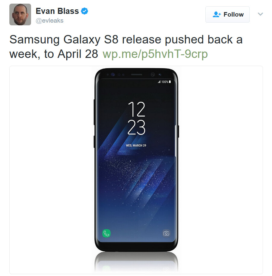New rumored launch date for the Samsung Galaxy S8 is April 28th - Report: Samsung Galaxy S8 release pushed back one week to April 28th (UPDATE)