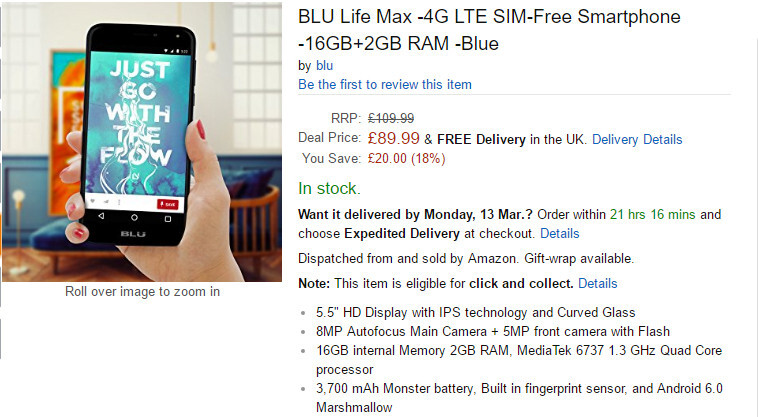 Deal: Blu Life Max on sale at Amazon for under £100, offers strong battery life and decent specs