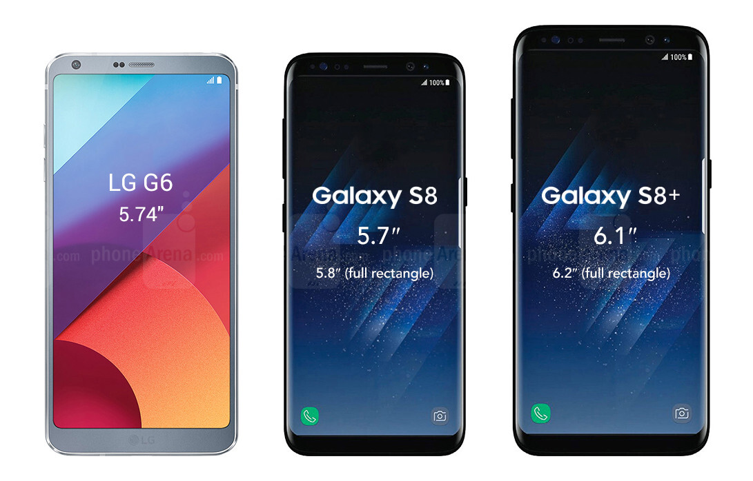 samsung galaxy s8 and galaxy s8 size comparison phonearena. Black Bedroom Furniture Sets. Home Design Ideas