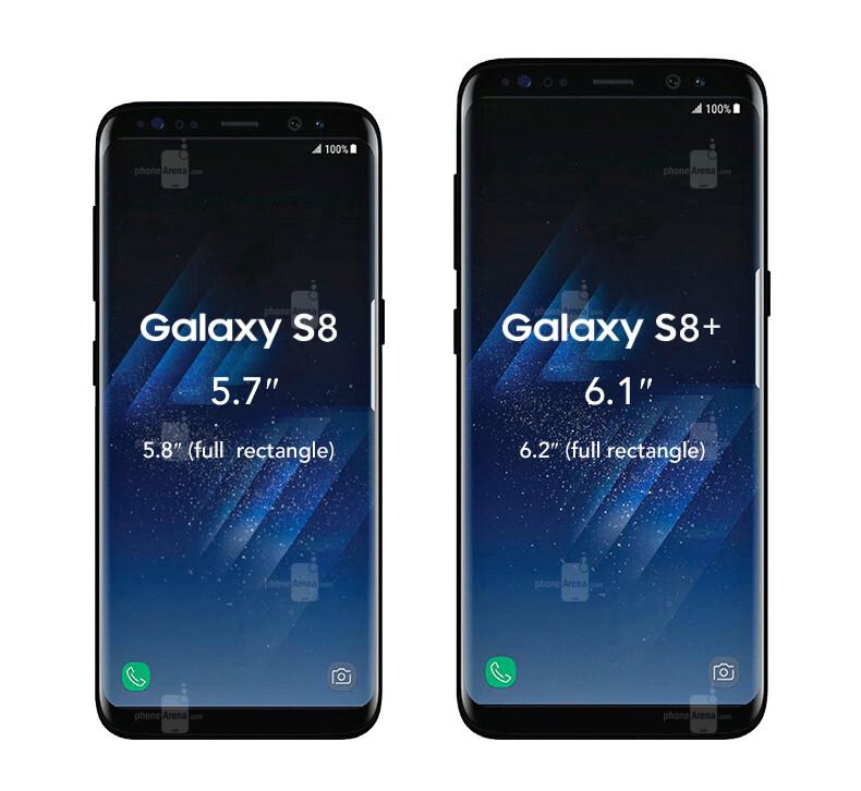 samsung galaxy s8 and galaxy s8 size comparison